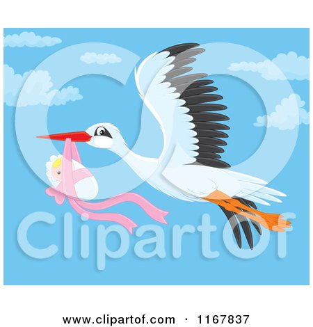 Cartoon of a Bundled up Baby Girl Hanging from a Flying Storks Beak - Royalty Free Vector Clipart by Alex Bannykh