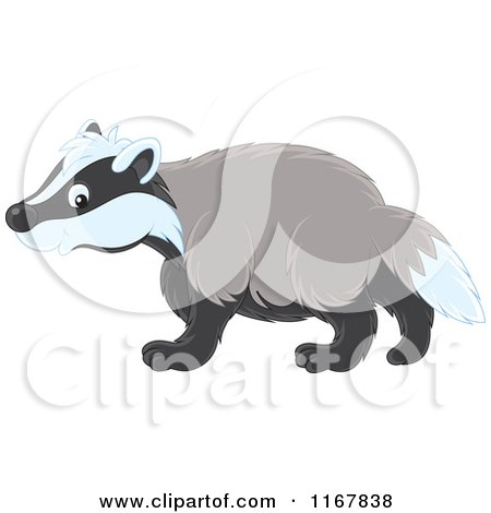 Cartoon of a Cute Badger Walking in Profile - Royalty Free Vector Clipart by Alex Bannykh
