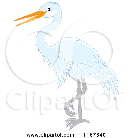 Cartoon of a Standing White Heron or Egret - Royalty Free Vector Clipart by Alex Bannykh