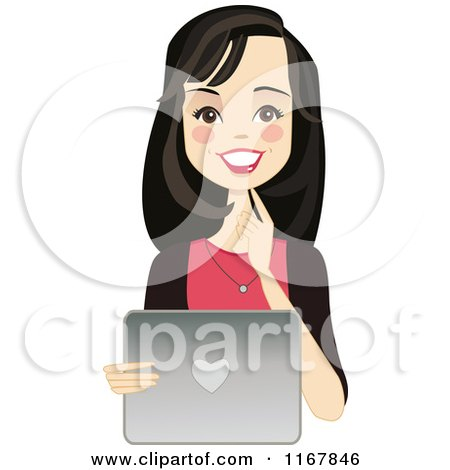 Clipart of a Happy Black Haired Woman Using a Laptop - Royalty Free Vector Illustration by peachidesigns