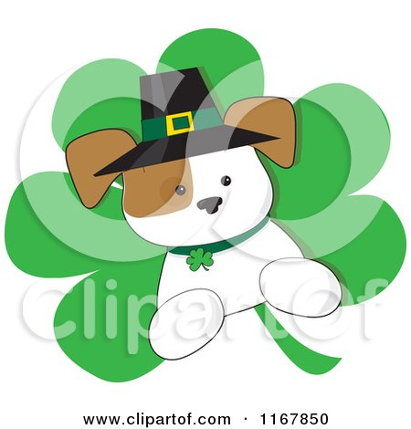 Cartoon of a St Patricks Day Irish Puppy on a Shamrock - Royalty Free Vector Clipart by Maria Bell
