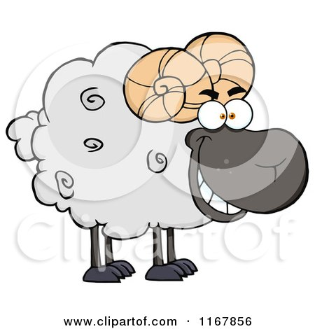 Cartoon of a Grinning Black Ram - Royalty Free Vector Clipart by Hit Toon