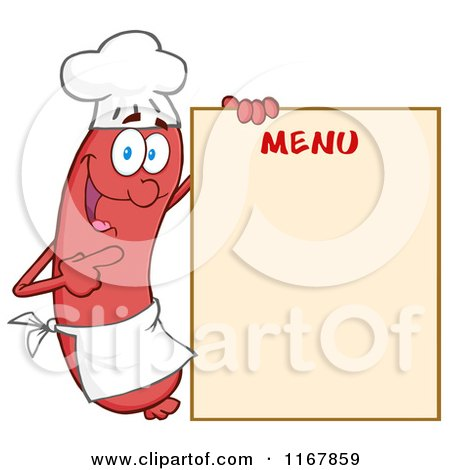 Cartoon of a Chef Sausage Mascot Pointing to Menu Board - Royalty Free Vector Clipart by Hit Toon
