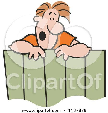 Cartoon of a Surprised Neighbor Man Talking over a Fence - Royalty Free Vector Clipart by Johnny Sajem