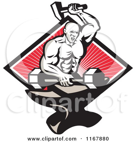 Clipart of a Strong Blacksmith Forging a Barbell on an Anvil over a Diamond of Rays on Red - Royalty Free Vector Illustration by patrimonio