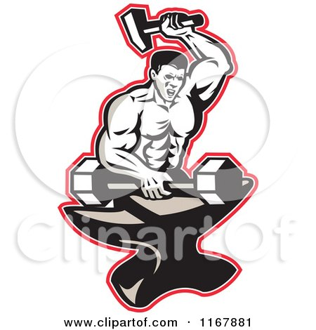 Clipart of a Strong Blacksmith Forging a Barbell on an Anvil Outlined in Red - Royalty Free Vector Illustration by patrimonio
