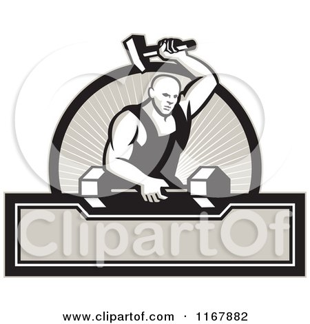 Clipart of a Strong Blacksmith Striking a Barbell over a Circle of Rays and Banner - Royalty Free Vector Illustration by patrimonio