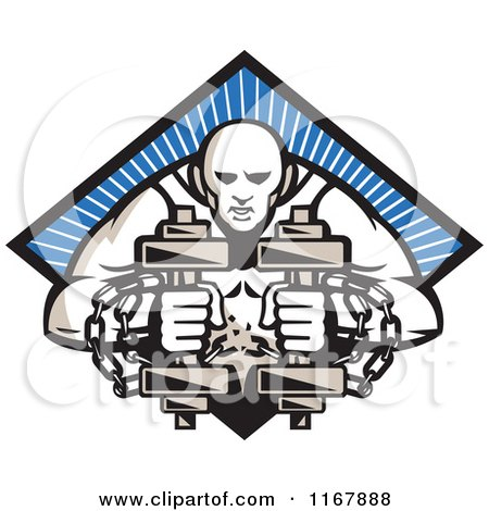 Clipart of a Bodybuilder with Chains, Holding Dumbbells over a Blue Ray Diamond - Royalty Free Vector Illustration by patrimonio