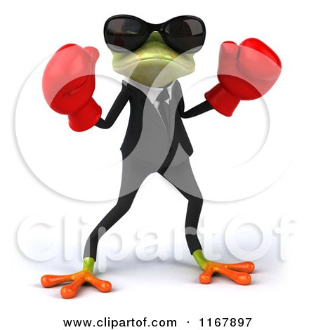 Clipart Of A 3d Formal Frog With Sunglasses And Boxing Gloves Royalty Free CGI Illustration