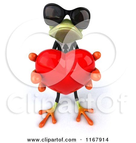 Clipart of a 3d Formal Frog with Sunglasses, Holding out a Valentine Heart - Royalty Free CGI Illustration by Julos