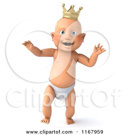 Clipart of a 3d Caucasian Baby Boy King Walking - Royalty Free CGI Illustration by Julos