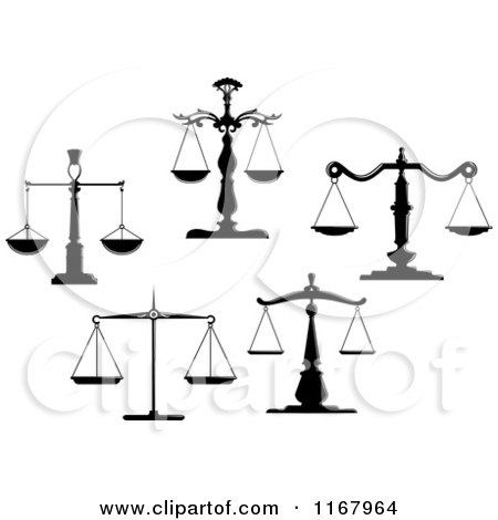 Clipart of Black and White Scales of Justice 6 - Royalty Free Vector Illustration by Vector Tradition SM