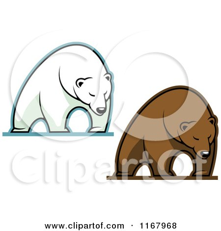 Clipart of Polar and Brown Bears - Royalty Free Vector Illustration by Vector Tradition SM