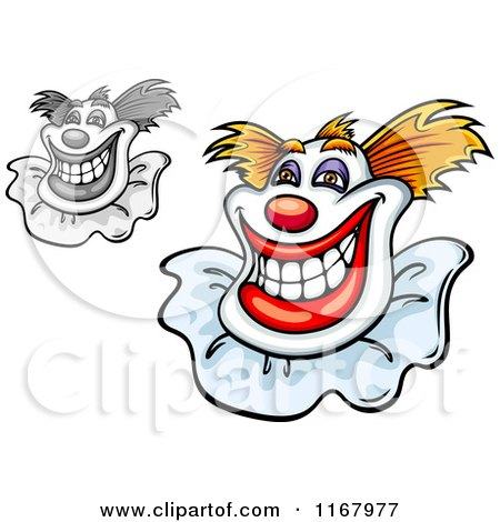 Clipart of Grinning Clowns - Royalty Free Vector Illustration by Vector Tradition SM