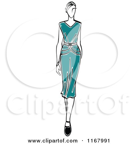 Clipart of a Sketched Model Walking in a Teal Dress - Royalty Free Vector Illustration by Vector Tradition SM