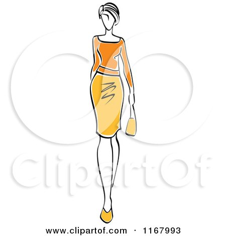Clipart of a Sketched Model Walking in a Yellow and Orange Dress - Royalty Free Vector Illustration by Vector Tradition SM
