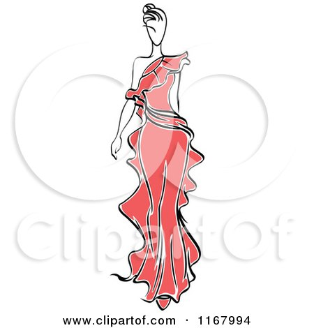 Clipart of a Sketched Fashion Model Walking in a Red Dress 2 - Royalty Free Vector Illustration by Vector Tradition SM