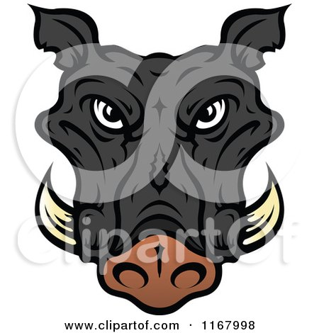 Clipart of a Black Tusked Boar Head - Royalty Free Vector Illustration by Vector Tradition SM