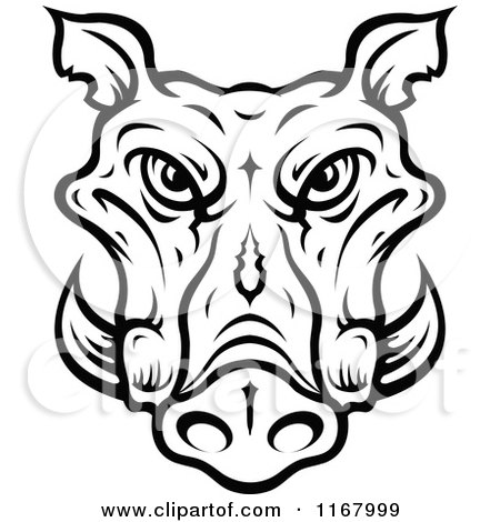 Clipart of a Black and White Tusked Boar Head - Royalty Free Vector Illustration by Vector Tradition SM