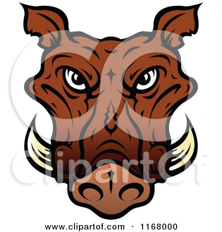 Clipart of a Brown Tusked Boar Head - Royalty Free Vector Illustration by Vector Tradition SM