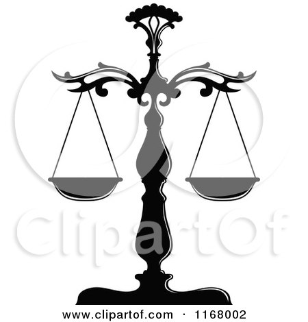 Clipart Of Black And White Scales Of Justice Royalty