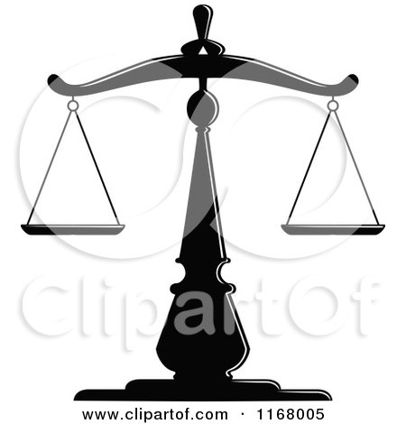 Clipart of Black and White Scales of Justice 5 - Royalty Free Vector Illustration by Vector Tradition SM