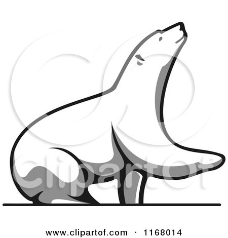 Clipart of a Grayscale Bear Lifting a Paw - Royalty Free Vector Illustration by Vector Tradition SM
