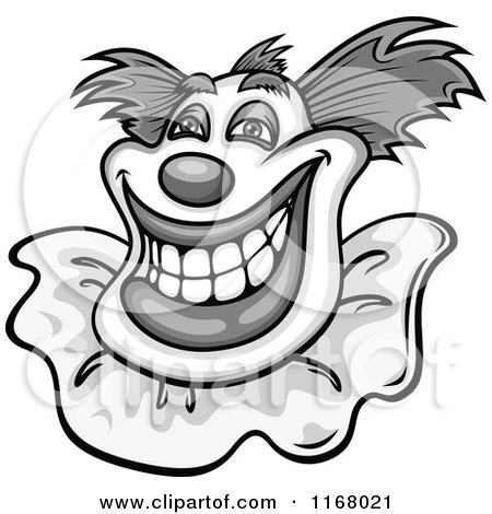 Clipart of a Grayscale Grinning Clown - Royalty Free Vector Illustration by Vector Tradition SM