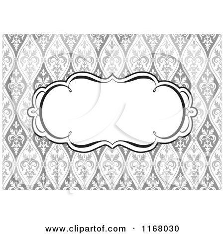 Clipart of a Black and White Swirl Invite Frame over a Grayscale Floral Pattern - Royalty Free Vector Illustration by BestVector