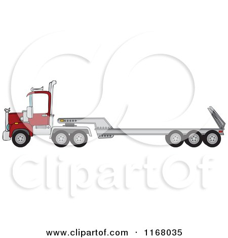 Cartoon of a Low Boy Big Rig Truck - Royalty Free Vector Clipart by djart