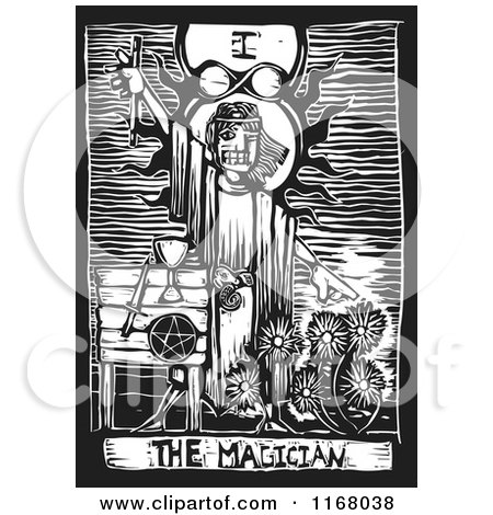 Clipart of the Magician Tarot Card Black and White Woodcut - Royalty Free Vector Illustration by xunantunich