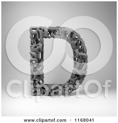 Clipart of a 3d Capital Letter D Composed of Scrambled Letters over Gray - Royalty Free CGI Illustration by stockillustrations