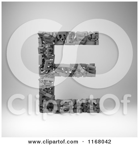 Clipart of a 3d Capital Letter E Composed of Scrambled Letters over Gray - Royalty Free CGI Illustration by stockillustrations