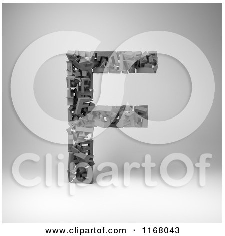 Clipart of a 3d Capital Letter F Composed of Scrambled Letters over Gray - Royalty Free CGI Illustration by stockillustrations