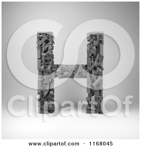 Clipart of a 3d Capital Letter H Composed of Scrambled Letters over Gray - Royalty Free CGI Illustration by stockillustrations