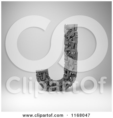 Clipart of a 3d Capital Letter J Composed of Scrambled Letters over Gray - Royalty Free CGI Illustration by stockillustrations