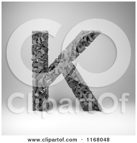 Clipart of a 3d Capital Letter K Composed of Scrambled Letters over Gray - Royalty Free CGI Illustration by stockillustrations