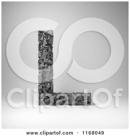 Clipart of a 3d Capital Letter L Composed of Scrambled Letters over Gray - Royalty Free CGI Illustration by stockillustrations