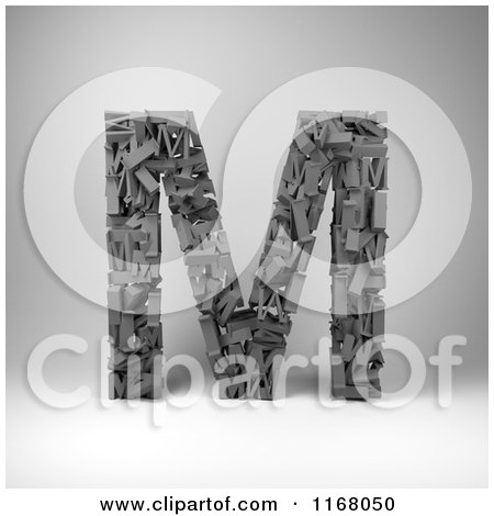 Clipart of a 3d Capital Letter M Composed of Scrambled Letters over Gray - Royalty Free CGI Illustration by stockillustrations