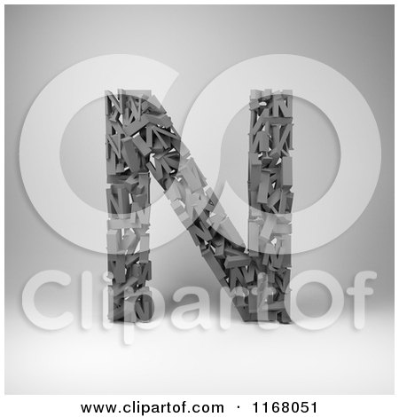 Clipart of a 3d Capital Letter N Composed of Scrambled Letters over Gray - Royalty Free CGI Illustration by stockillustrations