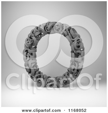 Clipart of a 3d Capital Letter O Composed of Scrambled Letters over Gray - Royalty Free CGI Illustration by stockillustrations