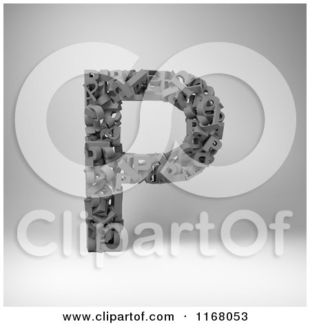 Clipart of a 3d Capital Letter P Composed of Scrambled Letters over Gray - Royalty Free CGI Illustration by stockillustrations