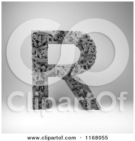 Clipart of a 3d Capital Letter R Composed of Scrambled Letters over Gray - Royalty Free CGI Illustration by stockillustrations