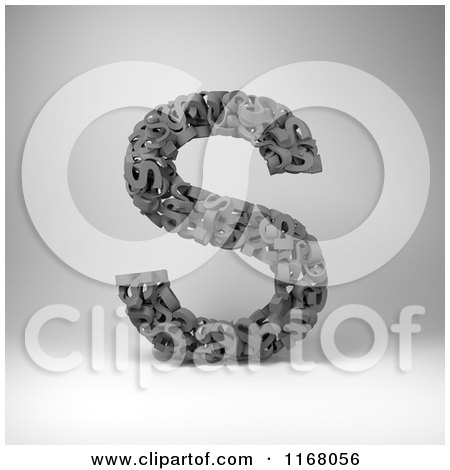 Clipart of a 3d Capital Letter S Composed of Scrambled Letters over Gray - Royalty Free CGI Illustration by stockillustrations