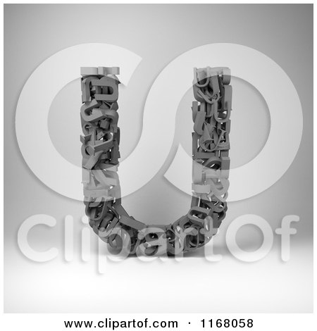 Clipart of a 3d Capital Letter U Composed of Scrambled Letters over Gray - Royalty Free CGI Illustration by stockillustrations