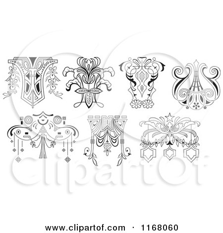 Clipart of Vintage Black and White Floral Design Elements - Royalty Free Vector Illustration by pauloribau