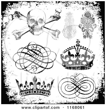 Clipart of Black Design Elements with White Distress Overlay - Royalty Free Vector Illustration by BestVector