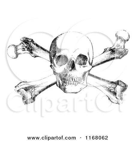 Clipart of a Black Skull and Crossbones with White Distress Overlay - Royalty Free Vector Illustration by BestVector