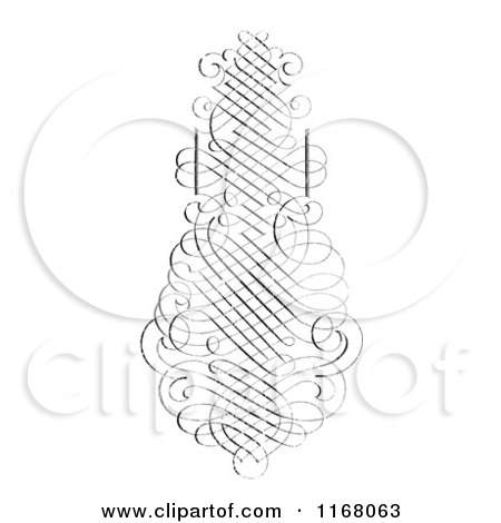 Clipart of a Vertical Black Ornate Swirl with White Distress Overlay - Royalty Free Vector Illustration by BestVector