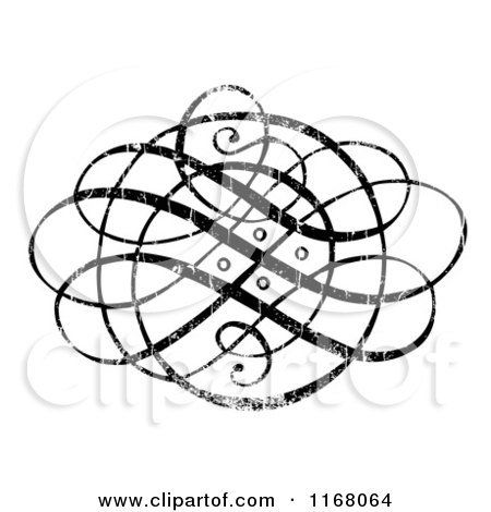 Clipart of a Black Ornate Swirl with White Distress Overlay - Royalty Free Vector Illustration by BestVector